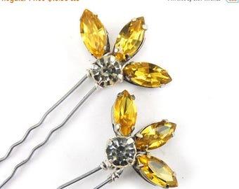 30% OFF SUMMER SALE Yellow Fan Vintage Style Rhinestones Hair Pins Set