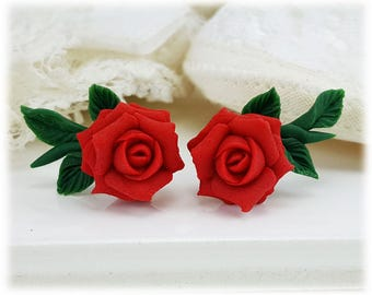Rose Ear Climbers - Ear Crawler, Floral Ear Climber Earrings, Rose Leaf Earrings, Rose Jewelry