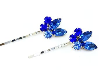 Vintage Style Blue Rhinestone Hair Pins - Sapphire Blue Hair Accessories, Something Blue, Blue Hair Jewelry