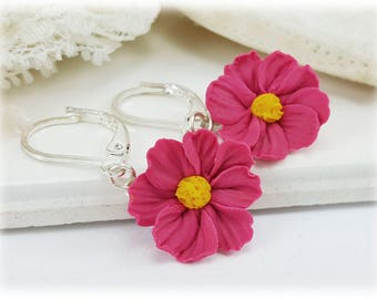 Cosmos Flower Dangle Earrings - Cosmos Drop Earrings, Pink Flower Jewelry, Pink Cosmos