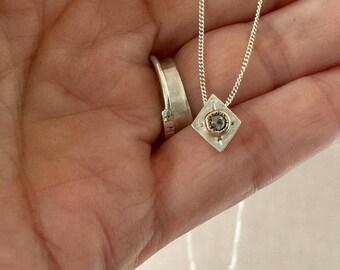 ON SALE Tiny  Necklace, Topaz Necklace, 14kt Gold Charm Necklace, November Birthstone Necklace, Geometric Necklace, Diamond Shape, Gift for
