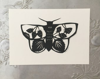 Moth Silhouette Papercutting with Strawberries