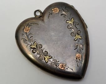 Antique Victorian large sterling silver 9ct gold floral applied heart locket