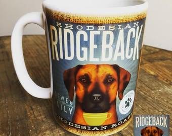 Rhodesian Ridgeback dog Coffee company graphic art MUG 15 oz ceramic coffee mug