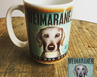 Weimaraner dog Coffee company graphic art MUG 15 oz ceramic coffee mug