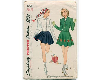 Vintage 1940s Skate Suit Sewing Pattern with Transfers-Skirt with Suspenders Jacket and Bloomers Rare Pattern Super Cute, Bust 32 Waist 26