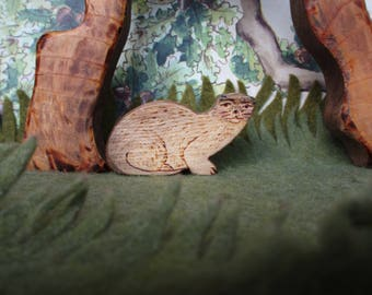 Wooden Otter, Waldorf Wood Animal Toy odd little animal Miniature Toys Montessori materials fun gift