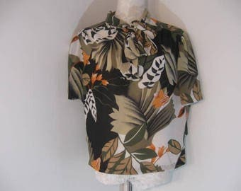 ladies Earth tone Secretary Blouse size 42 Vintage Pullover Blouse