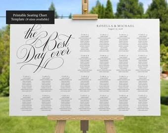 Wedding Seating Chart - Table Arrangement Sign - DIY Wedding Seating Sign - Best Day Ever - Seating Chart Wedding Template