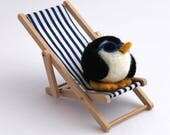 Limited Edition Needle Felted Penguin Super Cool Penguin with Sunglasses In Deck Chair