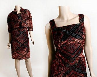 Vintage 1960s Dress & Crop Coat - Deep Red Brown Burgundy Velvet Diamond Cut-Out Wiggle Dress and Cropped Jacket - Small