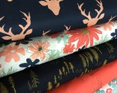 Woodlands Fusion Fabric, Floral Fabric, Woodland Baby Quilt fabric, Rustic Home Decor, Deer Fabric,  Bundle of 5, Choose the Cuts