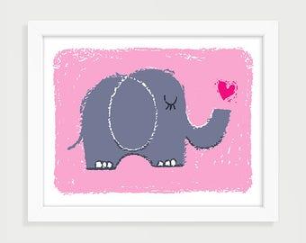 Printable Elephant with Heart - Remember Love, Pink, Purple, Instant Digital Download, Children, Kids, Baby, Nursery Art