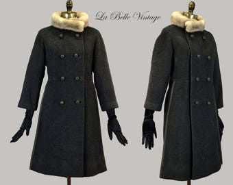 60s Mink Collar Mini Wool Coat M L Vintage Monarch Charcoal Gray Double Breast Peacoat