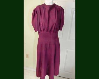 Vintage 1940's Woman's Maroon Crepe Swing Dress
