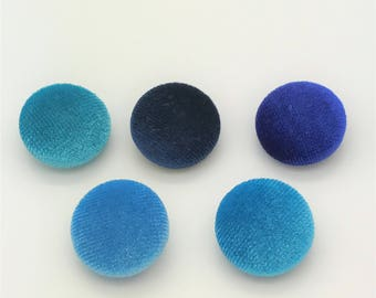 "Lot of 10, 5/8"" (15 mm)  Shades of Blue Velvet Button"