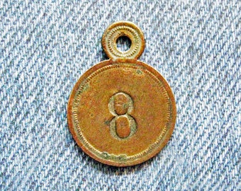 Brass Number Tag Room 8 Skeleton Key Fob Antique Retro Motel Hotel Industrial Metal Painted Numbered Id Repurpose Jewelry Hardware