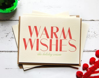 Warm Wishes Letterpress Holiday Card Set of 5
