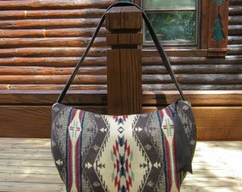 Hobo Bag Purse Shoulder Bag Handbag Brown Leather Spirit of the People Blanket Wool from Pendleton Oregon