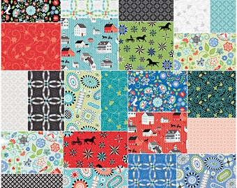 "Benartex Folk Art Fantasy Precut 5"" Charm Pack Fabric Quilting Cotton Squares Amanda Murphy SQ54"