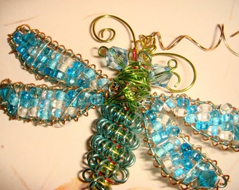 "My #9095 Very Pretty Blue Seeded Dragonfly! Large Ornament/Suncatcher - Size:3.5Wx5""L--very pretty!"