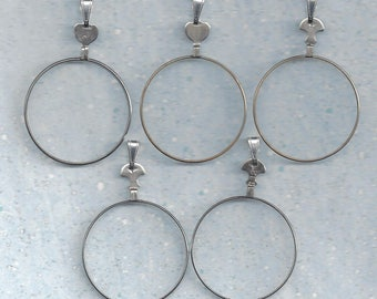 4 Vintage optical lenses with bail hooks.. ready to make your own ..