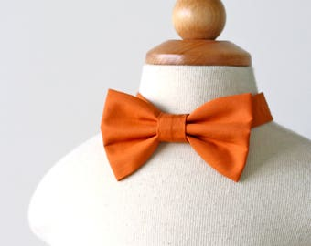 Orange Bow Tie, Kids Bow Tie, Holiday Bow Tie, Fall Wedding Bow Tie, Cotton Bow Tie, Ring Bearer Outfit, Baby Bow Tie, Toddler Bow Tie