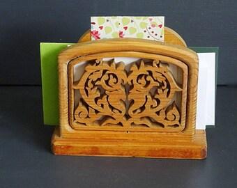 Rustic Heart Napkin Holder Letter Holder Bare Wood Handmade Signed