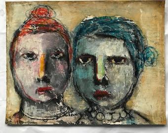 Stand firm, Mixed media folk art Portrait by Mystele