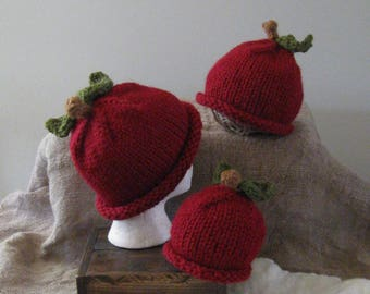 Apple Hat/Bulky/Toddler-Adult Szs/Autumn/Cute Photo Prop/Ready to Ship