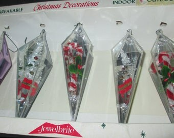 Vintage 50s Jewelbrite Candy Cane and Tree Plastic Prism Christmas Ornaments with Box