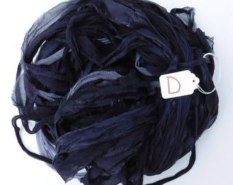 Sari Ribbon, Chiffon Sari silk ribbon, Charcoal Black Chiffon ribbon, tassel supply, weaving supply, knitting supply
