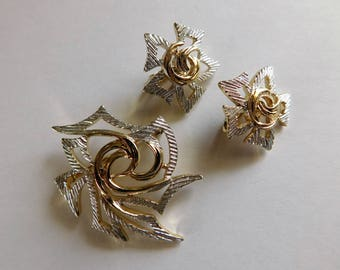 Vintage Sarah Conventry Brooch & Earrings Set Silver and Gold Designer Jewelry Set