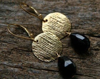 black tourmaline earrings, black gold earrings, black earrings, ckb, ckb creations, gold black drop earrings, black briolette earrings