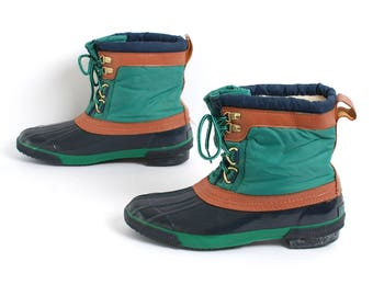 size 10 WINTER brown green navy rubber 80s 90s DUCK boots lace up WATERPROOF