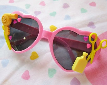 Heart sunglasses, pink decoden kawaii cabochon retro glasses barbie sweet lolita hair dresser hairstylist gift fairy pop kei gifts under 20