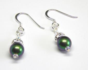 Dark Iridescent Green Pearl Crystal Earrings - Scarabaeous Green - Dark Green Pearl Earrings - Swarovski Elements - Pearl & Crystal Earrings
