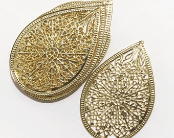 Bulk 100 pcs of Gold plated filigree connector 68x45mm, earring drops