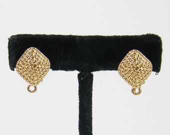 Gold Earring Posts with Clip Back, Square Rope Design Earring Tops Large Earring Post with Loop |G17-5|2