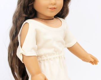 Fits like American Girl Doll Clothes - Trendy Cold Shoulder Dress in Cream