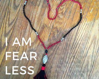 RESERVED Mala: I Am Fearless | Mala Necklace | Tassle