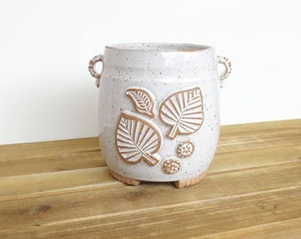 Stoneware Utensil Holder in Glossy White Glaze, Rustic Speckled, Kitchen, Handmade Pottery