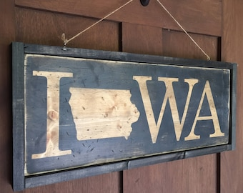 Double-sided framed wood Iowa welcome sign