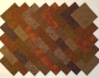 BROWN 4 inch Quilt Block Fabric Squares (A/12E)