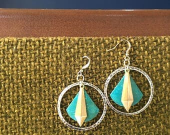 Sight Earrings hammered silver coated circle with patina fan and brass dagger layered mixed metal earrings