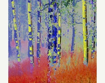 HUGE SUMMER SALE 40% off Giclee Fine Art Print   Blue and Yellow Trees