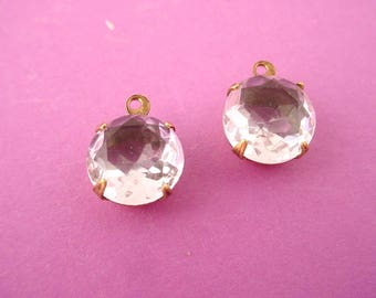 4 vintage crystal clear glass rhinestone 11mm Charm  Brass ox Settings 48SS 1 Ring open Backs