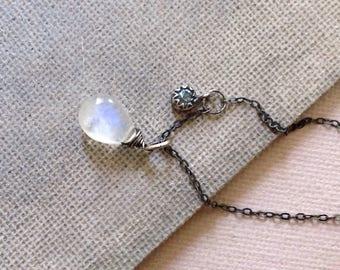 Rainbow Moonstone Necklace - Blue Topaz Necklace - Moonstone Pendant - Simple Bezel Necklace - Oxidized Sterling Silver Necklace