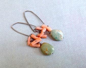 Green Turquoise Earrings - Pink Coral Earrings - December Earrings - Oxidized Sterling Silver Earrings - Earthy - Cluster Stone Earrings