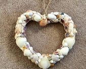 VALENTINE DAY SALE Heart Shaped Sea Shell Wreath - Sea Shells from North Carolina Beaches - Beach Chic - Christmas Gift Idea